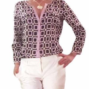 New York & Company roll-up sleeve print blouse, S